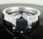 Black Diamond Rings 3.18 Carat Solitaire Black Diamond Solid Gold