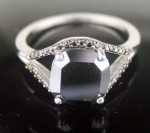 Cheap Black Diamond 4.13 Carat Cushion Cut Solitaire Diamond Ring Solid Gold