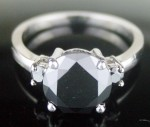 Artistry Black Diamond 3.52 Carat Solitaire With Accents Ring Solid Gold