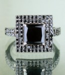 Artistry Black Diamond 2.79 Carat  Diamond Solitaire Ring Solid Gold