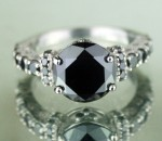 Enhanced Black Diamond 4.38 Carat Engagement Ring Solitaire Solid Gold