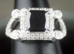Black diamond Wedding Rings 3.99 Carat Princess Cut Solitaire With Accents Solid Gold