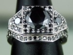 Black diamond Wedding Rings 2.32 Carat Solitaire With Accents Solid Gold