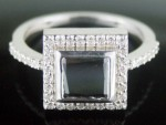 Black Diamond Rings 1.71 Carat Princess Cut Solitaire Diamond Solid Gold