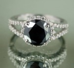 Black diamonds Ring 3.71 Carat Solitaire With Accents Solid Gold