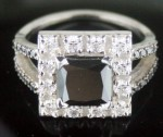 Black Diamond 3.46 Carat  Solitaire Black Diamond Ring Princess Cut Solid Gold