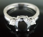 Black Stone 2.55 Carat  Solitaire Diamond Ring wz Accent Solid Gold