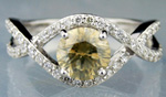Fancy Colored Diamond Ring 2.06 Ct Center 1.59Ct Eye Clean White Gold Natural Certified