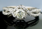 Color Diamond Engagement Rings 0.98Ct Center 0.60Ct White Gold Wedding Natural Certified