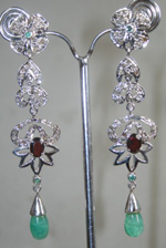Victorian Drop Earrings 2.45 Carat Natural Certified Diamond Gemstone Chandelier Everyday