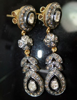 Antique Earrings 1.76 Carat Natural Certified Diamond 14K Gold Party