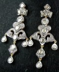 Antique Drop Earrings 3.46 Carat Natural Certified Diamond 14K Gold Anniversary