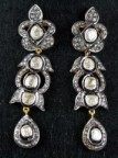 Polki Earrings 2.81 Carat Natural Certified Diamond Gold Chandelier Engagement