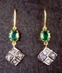 Antique Diamond Earrings 0.55 Carat Natural Certified Diamond Emerald Chandelier Party