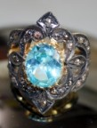 Victorian Antique Engagement Rings 0.80 Carat Natural Certified Diamond B.Topaz 925 Sterling Silver Weekend