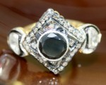 Vintage Diamond Wedding Rings 0.52 Carat Natural Certified Diamond & Black Stone 925 Sterling Silver Party