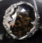 Antique Vintage Engagement Rings 3.50 Ct Natural Certified Diamond Smoky Quartz Ruby Gold Festive