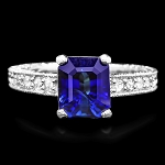 Sapphire Diamond Ring 0.50 Ct Blue Sapphire 1.50 Ct 14K Gold Natural Certified
