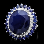 Sapphire Diamond Ring 0.75 Ct Gemstone 3.80 Ct 14K Gold Natural Certified
