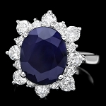 Gemstone Ring 0.90 Ct Diamond Blue Sapphire 1.75 Ct 14K Solid Gold Natural Certified