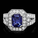 Diamond Gemstone Rings 1.00 Ct Blue Sapphire 1.55 Ct 14K Solid Gold Natural Certified