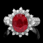 Ruby Diamond Ring 1.15 Ct Gemstone 2.20 Ct 14K Gold Wedding Natural Certified