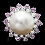 Diamond Gemstone Rings 0.45 Ct Pearl/Tormaline 5.30 Ct 14K Gold Wedding Natural Certified