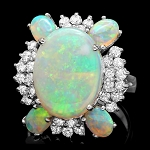 Diamond Gemstone Rings 0.77 Ct Opal 6.00 Ct 14K Solid Gold Natural Certified