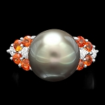 Diamond Gemstone Rings 0.20 Ct Pearl / Orange Tourmaline 4.50 Ct 14K Solid Gold Natural Certified