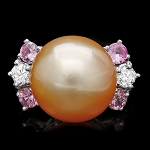 Diamond Gemstone Rings 0.10 Ct Pearl/Pink Tourmaline 5.40 Ct 14K Solid Gold Natural Certified