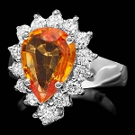 Gemstone Ring 0.50 Ct Diamond Citrine 2.00 Ct 14K Solid Gold Wedding Natural Certified