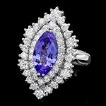 Diamond Gemstone Rings 1.25 Ct Tanzanite 2.60 Ct 14K Solid Gold Natural Certified