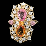 Diamond Gemstone Rings 0.52 Ct Citrine/Pink Tourmaline 1.70 Ct 14K Solid Gold Natural Certified