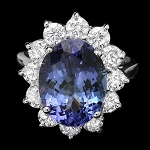 Diamond Gemstone Rings 0.85 Ct Tanzanite 2.80 Ct 14K Solid Gold Natural Certified