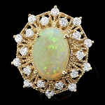 Gemstone Ring 0.50 Ct Diamond Opal 2.00 Ct 14K Solid Gold Natural Certified