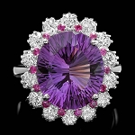 Diamond Gemstone Rings 0.70 Ct Amethyst / Ruby 3.22 Ct 14K Gold Natural Certified