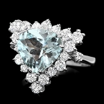 Diamond Gemstone Rings 0.60 Ct Sky Blue Topaz 1.55 Ct 14K Solid Gold Natural Certified