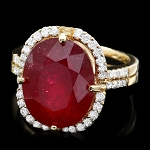 Ruby Diamond Ring 1.10 Ct Gemstone 3.50 Ct 14K Solid Gold Wedding Natural Certified