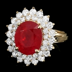 Gemstone Ring 1.10 Ct Diamond 2.20 Ct Ruby 14K Solid Gold Anniversary Natural Certified