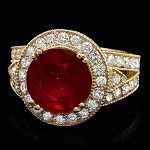 Ruby Diamond Ring 1.00 Ct Gemstone 2.00 Ct 14K Solid Gold Natural Certified