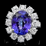 Diamond Gemstone Rings 0.70 Ct Blue Sapphire 2.10 Ct 14K Solid Gold Wedding Natural Certified