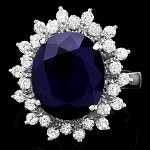 Diamond Gemstone Rings 0.90 Ct Blue Sapphire 2.35 Ct 14K Solid Gold Natural Certified