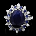 Sapphire Diamond Ring 0.72 Ct Gemstone 3.00 Ct 14K Solid Gold Natural Certified