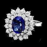 Gemstone Ring 1.00 Ct Diamond Blue Sapphire 1.55 Ct 14K Solid Gold Natural Certified
