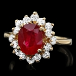 Ruby Diamond Ring 0.75 Ct Gemstone 1.45 Ct 14K Gold Wedding Natural Certified