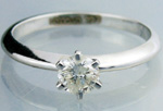 Solitaire Diamond Ring 0.45Ct Round Shape White Gold Natural Certified