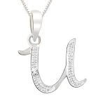 Initial Necklace 0.05Ct White Gold