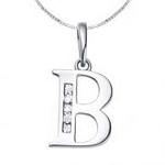 Diamond Initial Pendant 0.08Ct White Gold
