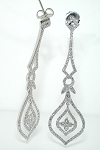 Gold Chandelier Earrings 2.75Ct Diamond Natural Certified Solid White Gold