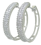 White Gold Hoop Earrings 2.00 Ct Ij - Si2  Diamond  Natural Certified Solid Gold